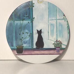 Black Cat Sitting in Window Melamine Tray